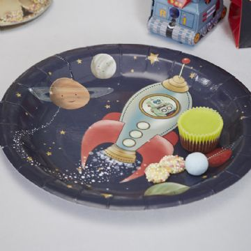 Space Adventure rocket ship paper plates - pack of 8